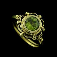 peridot engagement ring style 14k yellow gold bezel set peridot engagement ring