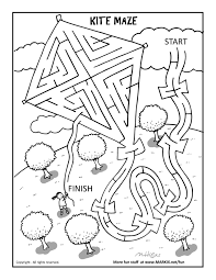 kite maze and coloring page fun printable coloring u0026 activity