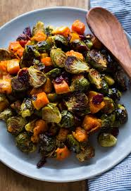 roasted brussels sprouts and squash with dried cranberries and