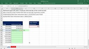 Excel Retirement Spreadsheet Excel Magic Trick 1270 Calculate Retirement Date With Edate And