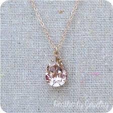 pink crystal pendant necklace images Swarovski blush pink teardrop crystal rose gold necklace simple jpg