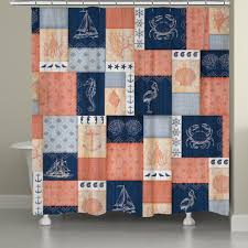 Navy And Coral Shower Curtain Coral And Navy Coastal Shower Curtain Laural Home