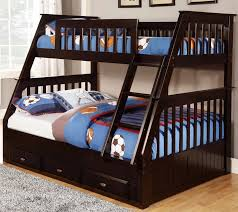 Black Wooden Bunk Beds Black Wooden Bunk Bed With Stairs Also Drawers On The Bottom Side
