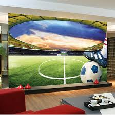 Football Room Decor Football Stadium Wall Mural Customize Photo Wallpaper Soccer