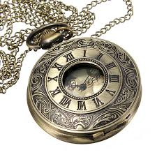 pocket watch chain necklace images Vintage looking bronze roman numerals steampunk quartz necklace jpg