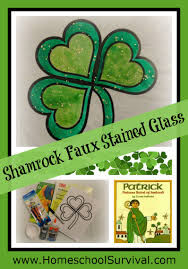 freebie shamrock faux stained glass craft homeschool survival