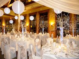 winter themed wedding centerpiece and ceiling lanterns decor ideas