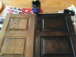 Kitchen Cabinets Staining by Java Gel Stain To Darker Our Outdated Maple Bathroom Cabinets