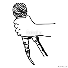 vector hand drawn of rough sketch hand holding retro microphone