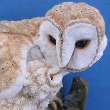 country artists barn owl feeding baby owl figurine wildlife