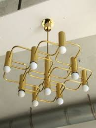 Atomic Chandelier Rare Gerald Thurston Brass Atomic Chandelier For Lightolier Mid