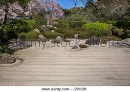 peaceful zen garden with raked sand and single tree trunk calm