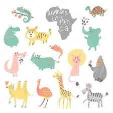 funny colors funny cartoon animals in bright colors stock vector