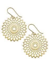 gold plated earrings flower mandala 18k gold plated earrings modli