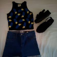 sfera high waisted shorts forever 21 marge simpson croptop