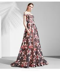 evening dresses for weddings black floral printed sleeve black gown wedding dress