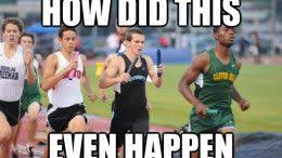 Track Memes - meme about track and field with a kid with two batons that says how