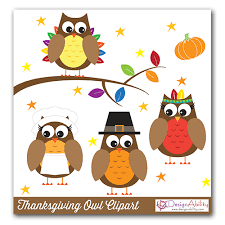 thanksgiving owls clip set designability clip library