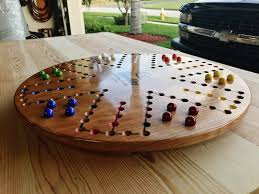 6 player 24 inch cherry aggravation board game by woodshaver