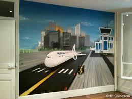 chambre garcon avion fresque murale avion deco