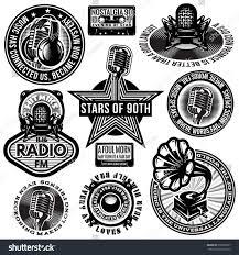 set retro badges templates gramofon microphones stock vector