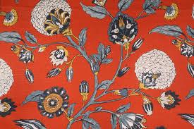 Red Drapery Fabric Robert Allen Auretta Printed Cotton Drapery Fabric In Persimmon By