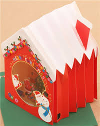 cute winter house christmas tree letter 3d pop up card from japan