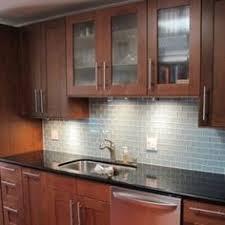 Subway Tile Backsplash Cherry Kitchen Cabinets Stainless Steel - Backsplash for cherry cabinets