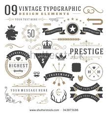 retro vintage typographic design elements arrows stock vector