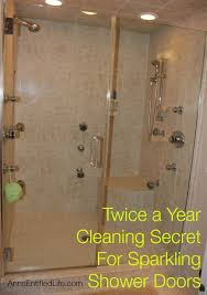 twice a year cleaning secret for sparkling shower doors cleaning