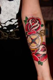 traditional old compass tattoo design make on sleeve