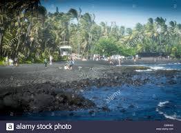 black sand beach big island black sand beach in hawaii big island stock photo 74277420 alamy