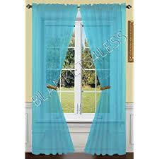 Turquoise Sheer Curtains 2 Solid Turquoise Sheer Window Curtains Drape