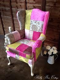 patchwork parker knoll wingback chair in designer velvet fabrics