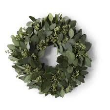 eucalyptus wreath seeded eucalyptus wreath williams sonoma