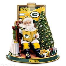 green bay packers illuminated talking santa tabletop centerpiece