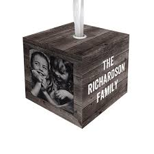 weathered wood cube personalized ornaments shutterfly