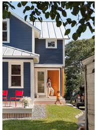 navy blue house colour with bright red yellow or orange door