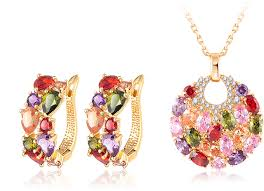 stone colored necklace images Multi colored zircon gold plated fashion jewelry set eonshoppee jpg