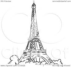 clipart of a black and white sketched eiffel tower 2 royalty