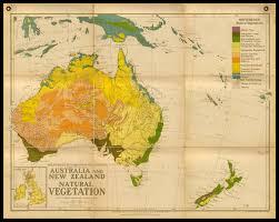 Map New Zealand Old Wall Map Of Australia And New Zealand Natural Vegetation Circa