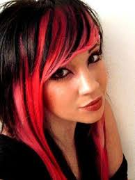 pictures of bright red and black hairstyles