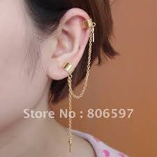 ear earrings whhec081 new design two ear cuffs golden clip earrings cross charm