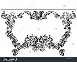 imperial baroque console table luxury stock vector