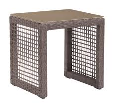 Outdoor Patio End Tables with Coronado Patio End Table In Woven Cocoa Resin With Tempered Glass