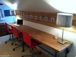 Home Loft Office Long Desk For A Family Office Space Love The Name On The Wall