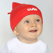 cute baby hat red with slogan by snuglo notonthehighstreet com
