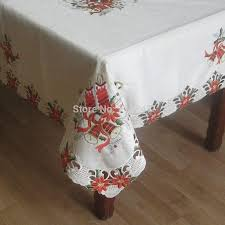Quality Home Decor High Quality 72 126 Christmas Embroidery Satin Tableloth Luxury