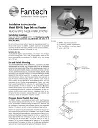 fantech dryer booster fan troubleshooting installation instructions for model dbf4xl dryer exhaust booster