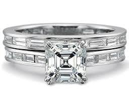 baguette wedding band engagement ring asscher diamond engagement ring matching
